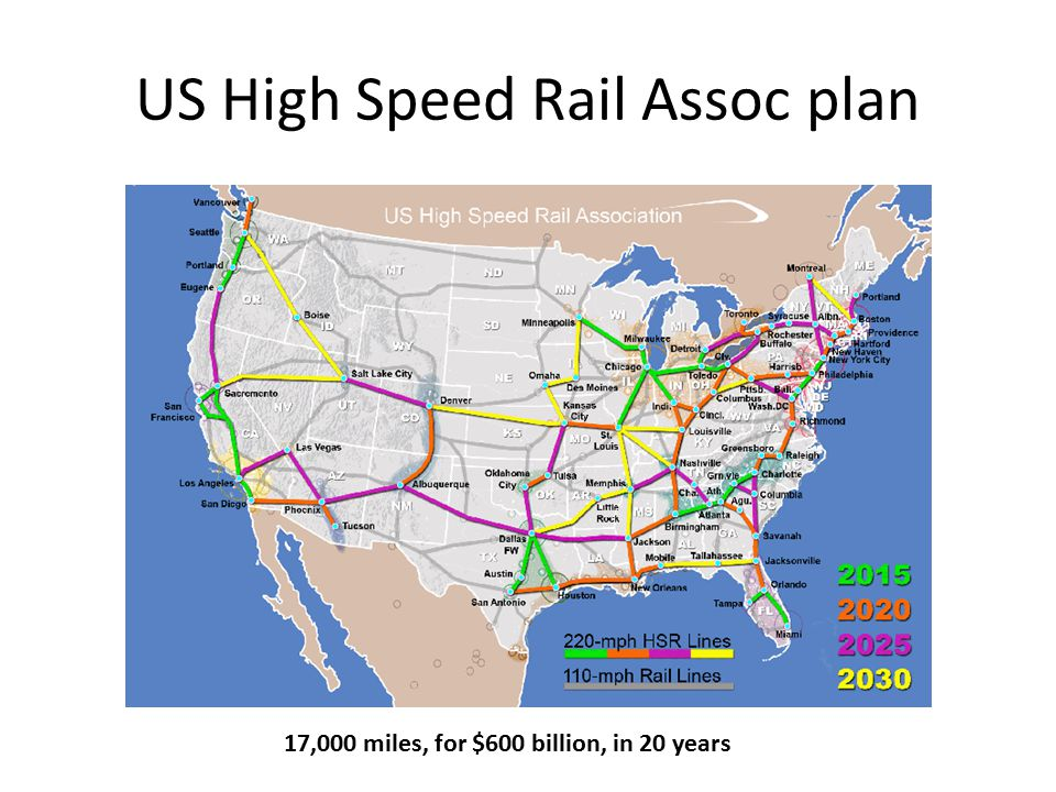 US High Speed Rail Assoc plan 17,000 miles, for $600 billion, in 20 years