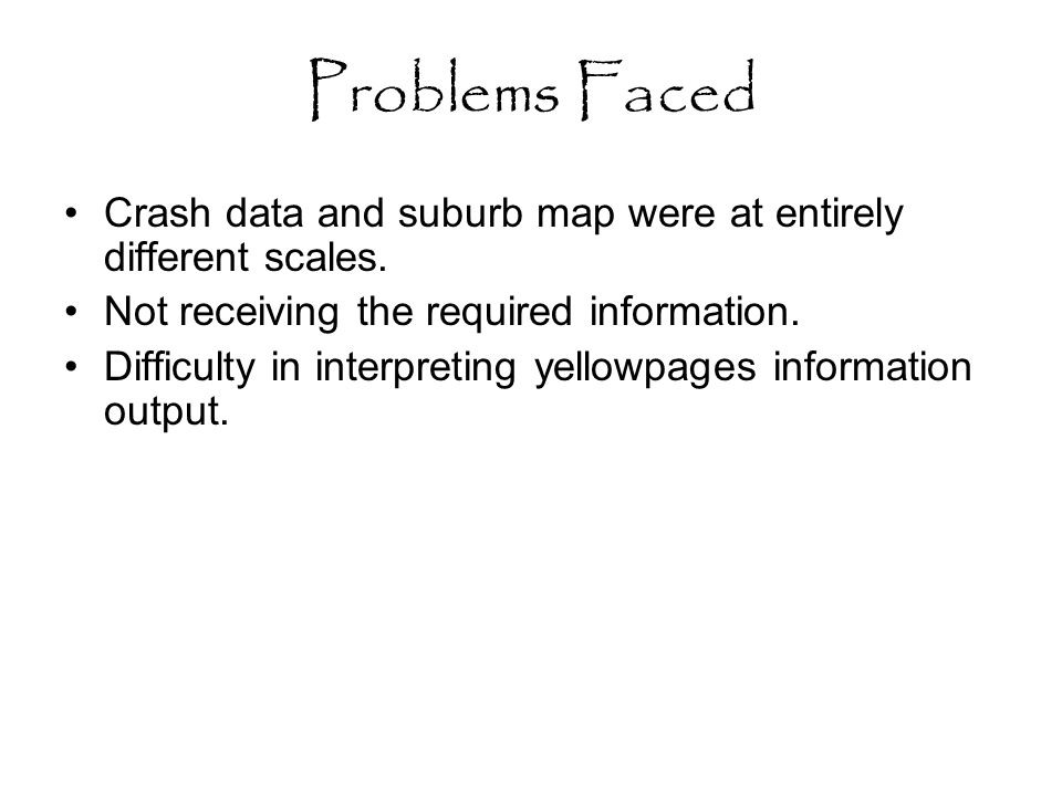 Problems Faced Crash data and suburb map were at entirely different scales.