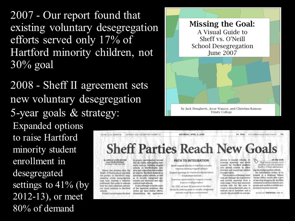 2008 - Sheff II agreement sets new voluntary desegregation 5-year goals & strategy: Expanded options to raise Hartford minority student enrollment in desegregated settings to 41% (by 2012-13), or meet 80% of demand