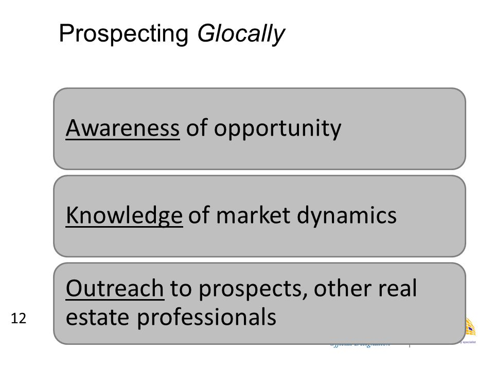 Prospecting Glocally Awareness of opportunityKnowledge of market dynamics Outreach to prospects, other real estate professionals 12
