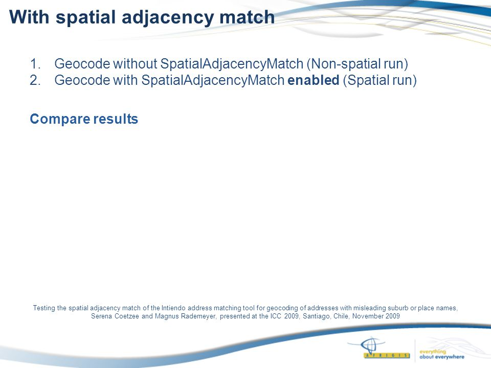 Testing the spatial adjacency match of the Intiendo address matching tool for geocoding of addresses with misleading suburb or place names, Serena Coetzee and Magnus Rademeyer, presented at the ICC 2009, Santiago, Chile, November 2009 With spatial adjacency match 1.Geocode without SpatialAdjacencyMatch (Non-spatial run) 2.Geocode with SpatialAdjacencyMatch enabled (Spatial run) Compare results