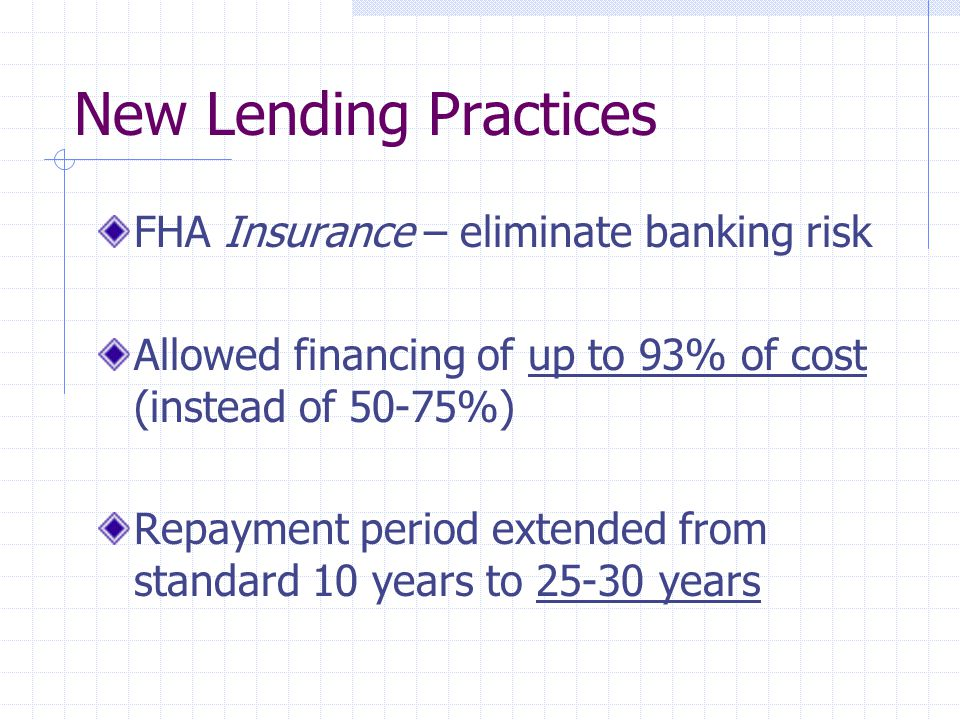 New Lending Practices FHA Insurance – eliminate banking risk Allowed financing of up to 93% of cost (instead of 50-75%) Repayment period extended from