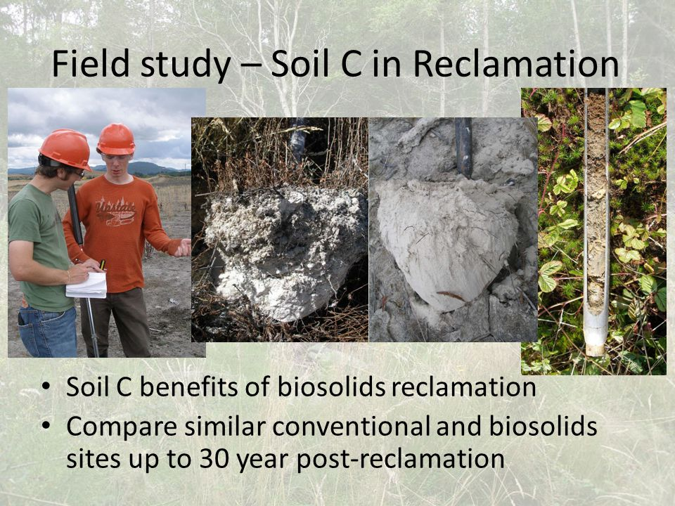 Field study – Soil C in Reclamation Soil C benefits of biosolids reclamation Compare similar conventional and biosolids sites up to 30 year post-reclamation