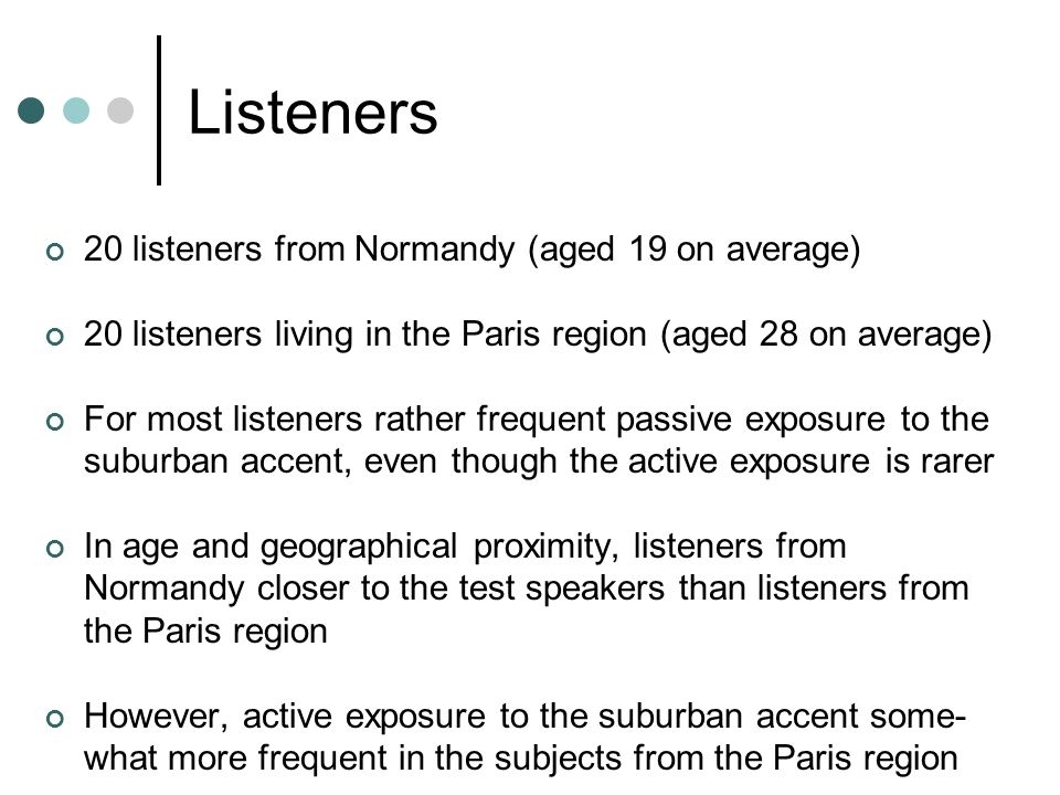 Listeners 20 listeners from Normandy (aged 19 on average) 20 listeners living in the Paris region (aged 28 on average) For most listeners rather frequ