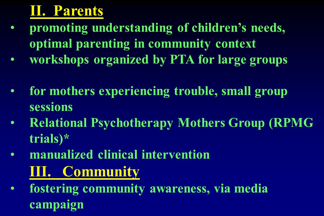 II. Parents promoting understanding of children's needs, optimal parenting in community context workshops organized by PTA for large groups for mother