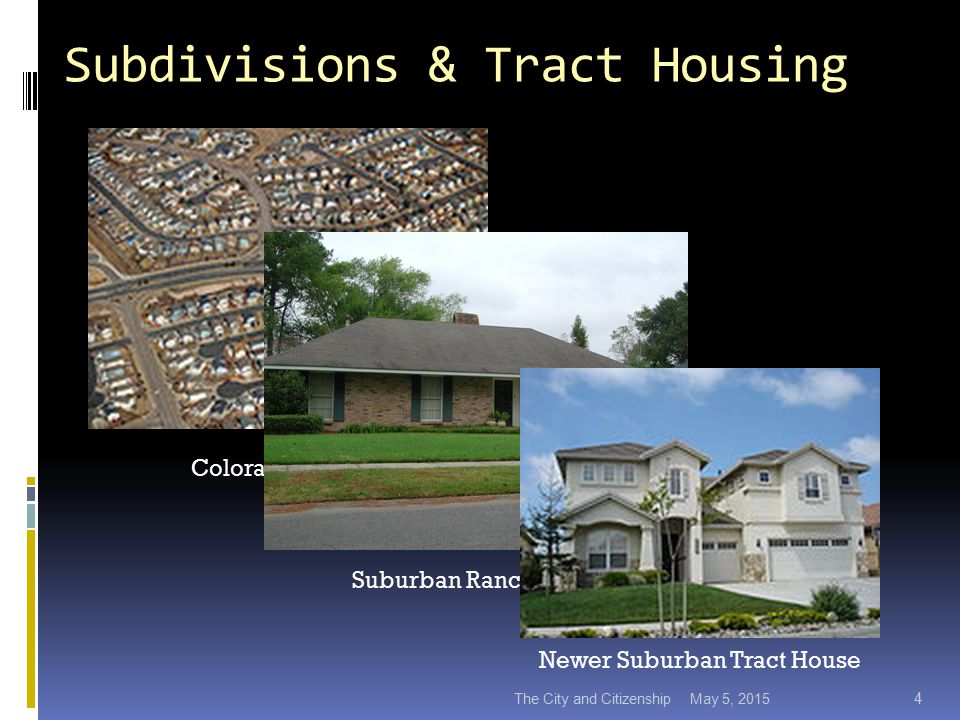 Subdivisions & Tract Housing May 5, 2015The City and Citizenship 4 Colorado Springs Suburban Ranch House Newer Suburban Tract House