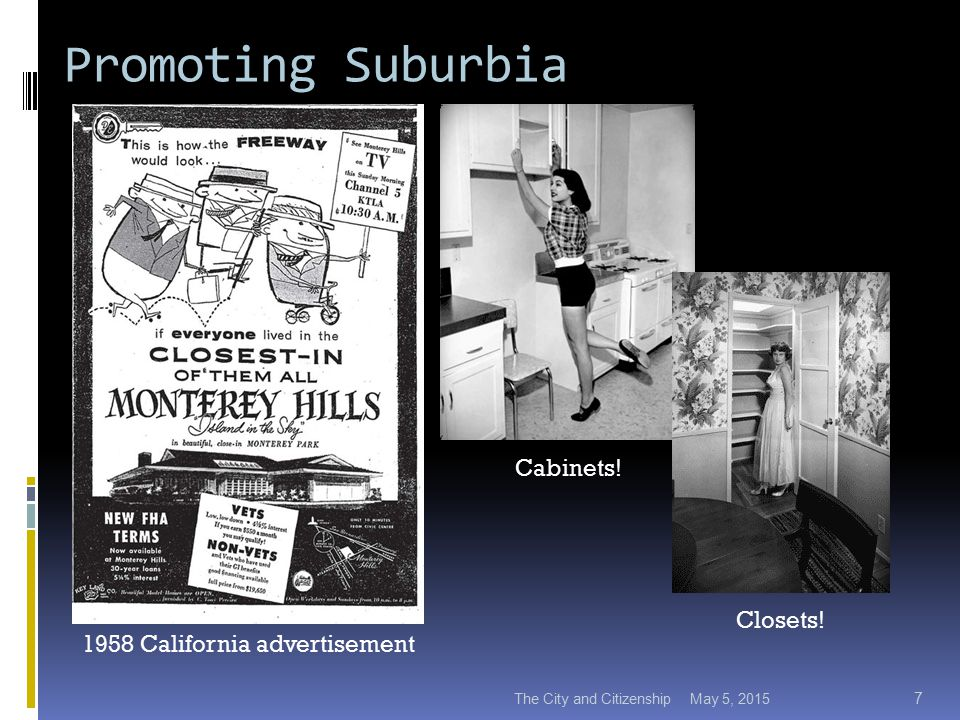 Promoting Suburbia May 5, 2015The City and Citizenship 7 1958 California advertisement Cabinets.