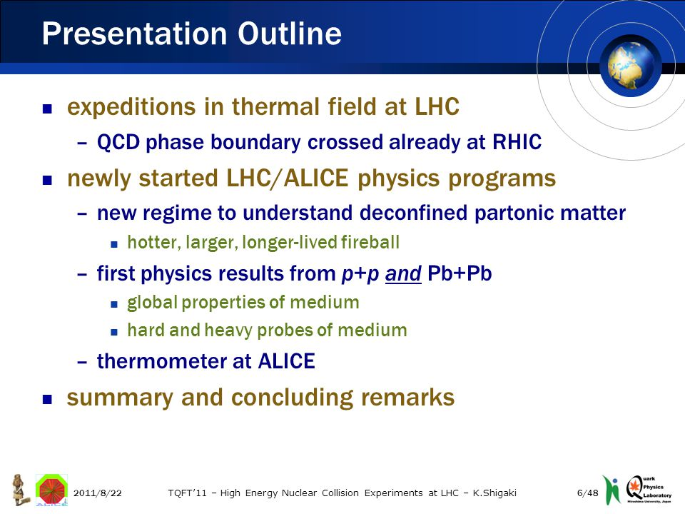 central/peripheral ratio ~ 0.5 –consistent with single particle suppression Jet Yield Suppression (ATLAS) 2011/8/22 TQFT'11 – High Energy Nuclear Collision Experiments at LHC – K.Shigaki R = 0.4 R = 0.2 37/48