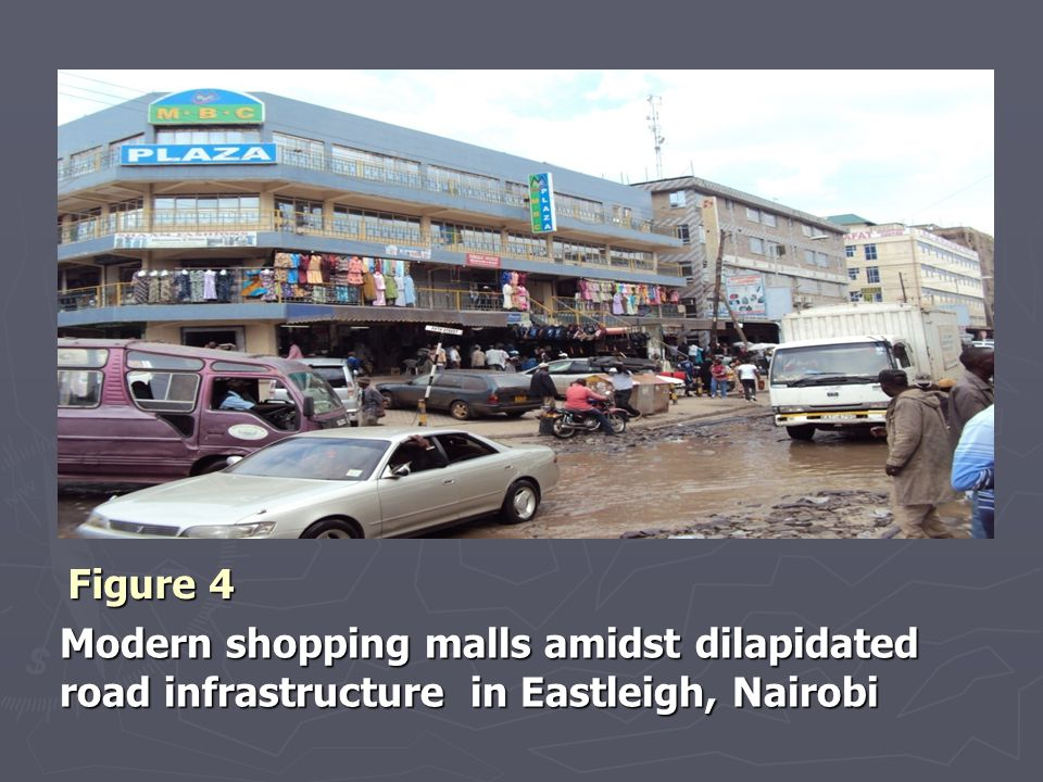 Figure 4 Modern shopping malls amidst dilapidated road infrastructure in Eastleigh, Nairobi