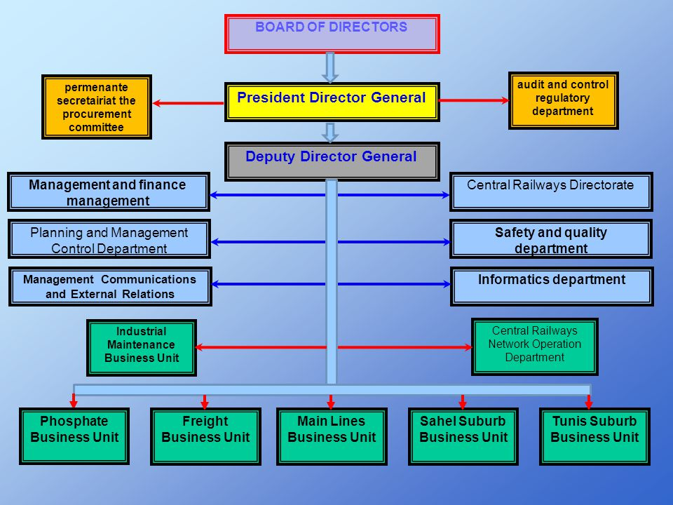 BOARD OF DIRECTORS President Director General Deputy Director General Management and finance management Planning and Management Control Department Man