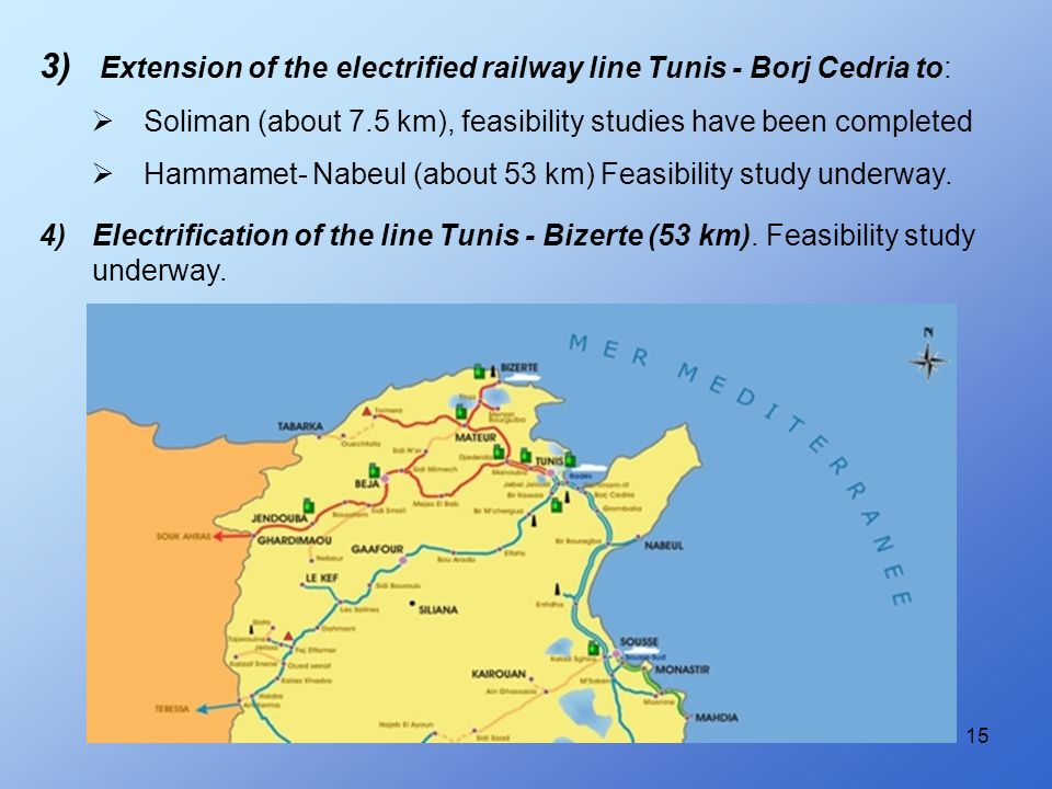 15 3) Extension of the electrified railway line Tunis - Borj Cedria to:  Soliman (about 7.5 km), feasibility studies have been completed  Hammamet-