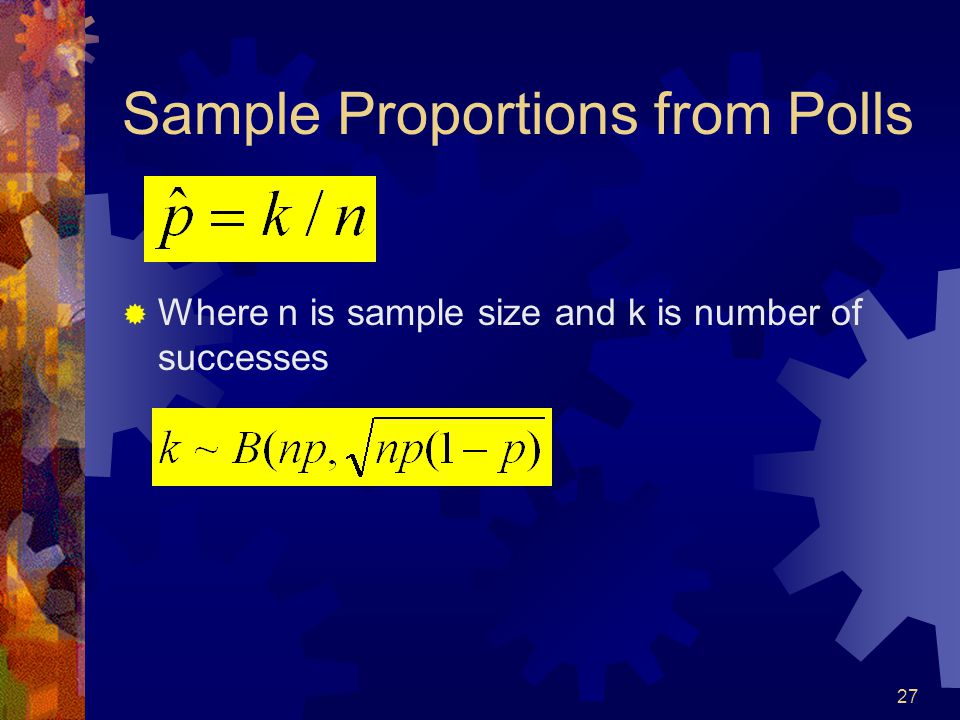 27 Sample Proportions from Polls  Where n is sample size and k is number of successes
