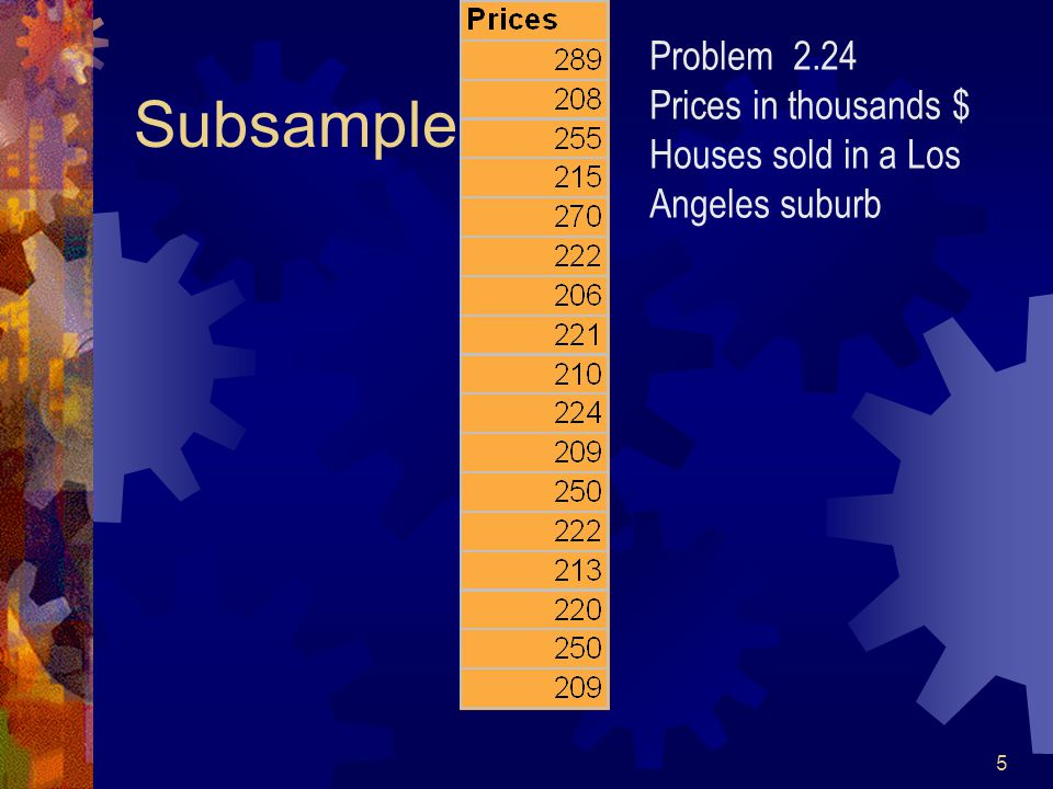 5 Subsample Problem 2.24 Prices in thousands $ Houses sold in a Los Angeles suburb