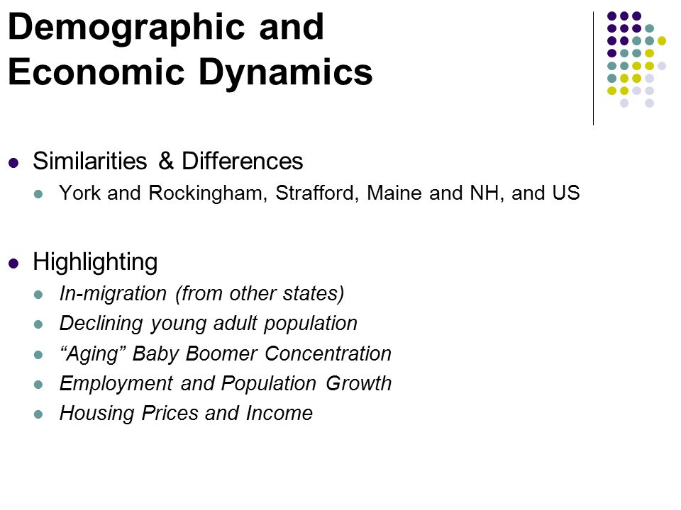 Demographic and Economic Dynamics Similarities & Differences York and Rockingham, Strafford, Maine and NH, and US Highlighting In-migration (from othe