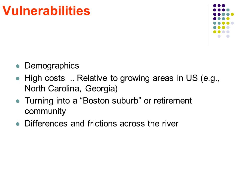 """Vulnerabilities Demographics High costs.. Relative to growing areas in US (e.g., North Carolina, Georgia) Turning into a """"Boston suburb"""" or retirement"""