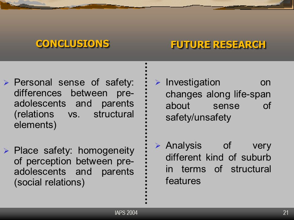 IAPS 2004 21 CONCLUSIONSCONCLUSIONS  Personal sense of safety: differences between pre- adolescents and parents (relations vs.