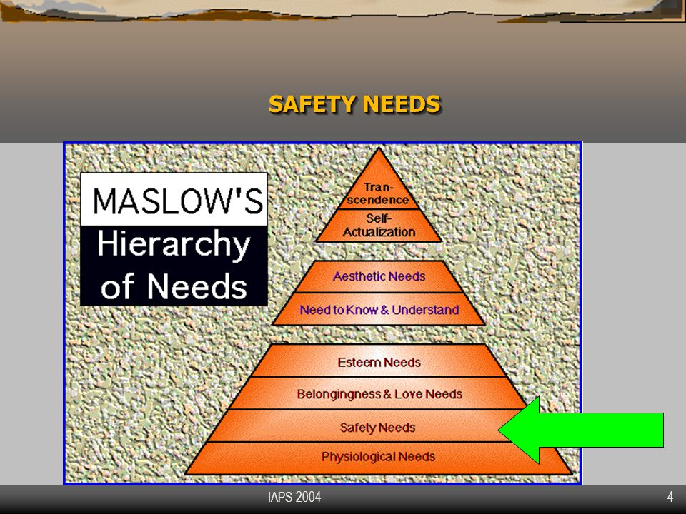 IAPS 2004 25 POSITIVE STRUCTURAL FEATURES Valuate from 1 to 7 the level of influence on your sense of safety