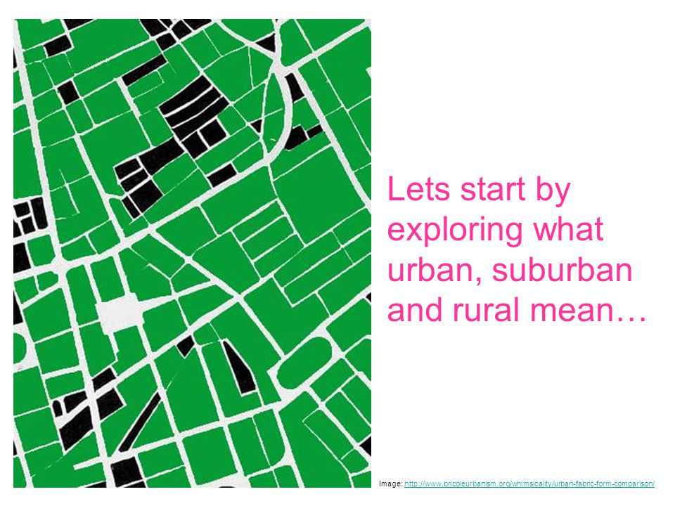 Lets start by exploring what urban, suburban and rural mean… Image: http://www.bricoleurbanism.org/whimsicality/urban-fabric-form-comparison/http://www.bricoleurbanism.org/whimsicality/urban-fabric-form-comparison/