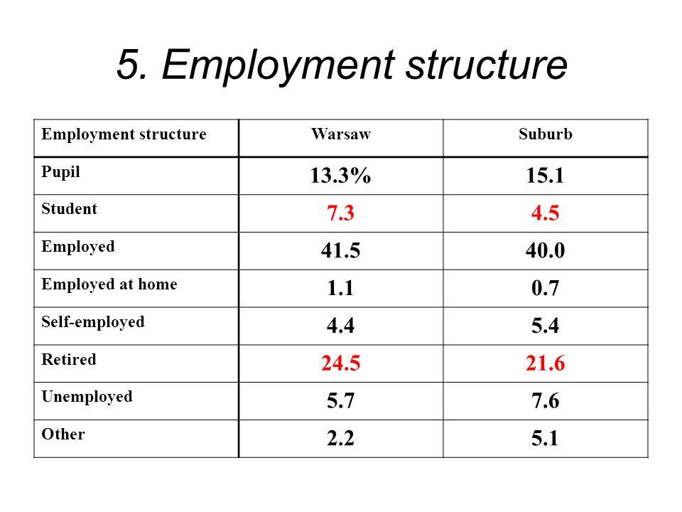 5. Employment structure Employment structureWarsawSuburb Pupil 13.3%15.1 Student 7.34.5 Employed 41.540.0 Employed at home 1.10.7 Self-employed 4.45.4