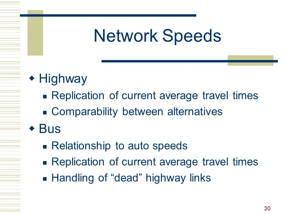 30 Network Speeds  Highway Replication of current average travel times Comparability between alternatives  Bus Relationship to auto speeds Replicati