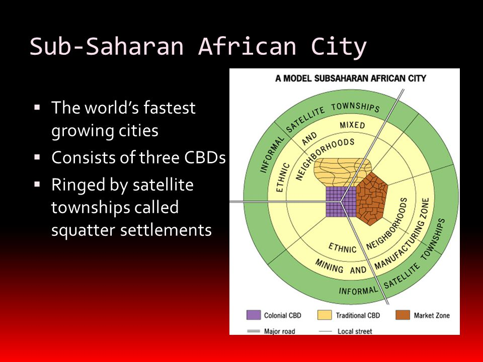 Sub-Saharan African City  The world's fastest growing cities  Consists of three CBDs  Ringed by satellite townships called squatter settlements