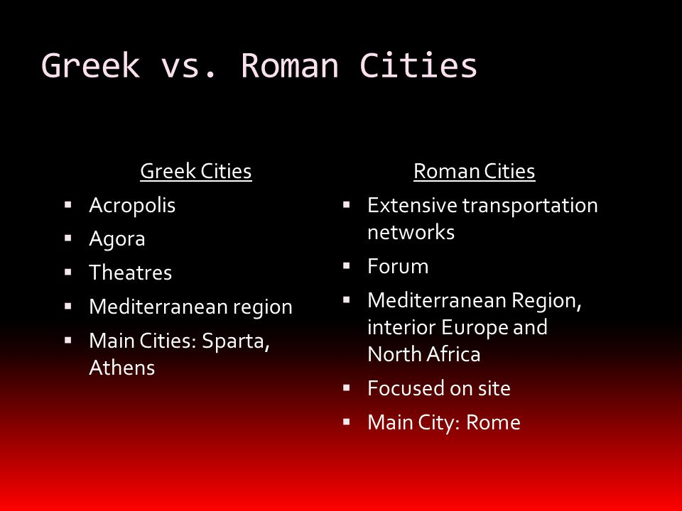 Greek vs. Roman Cities Greek Cities  Acropolis  Agora  Theatres  Mediterranean region  Main Cities: Sparta, Athens Roman Cities  Extensive trans