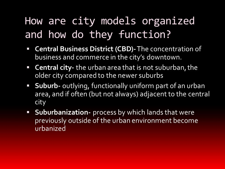 How are city models organized and how do they function.