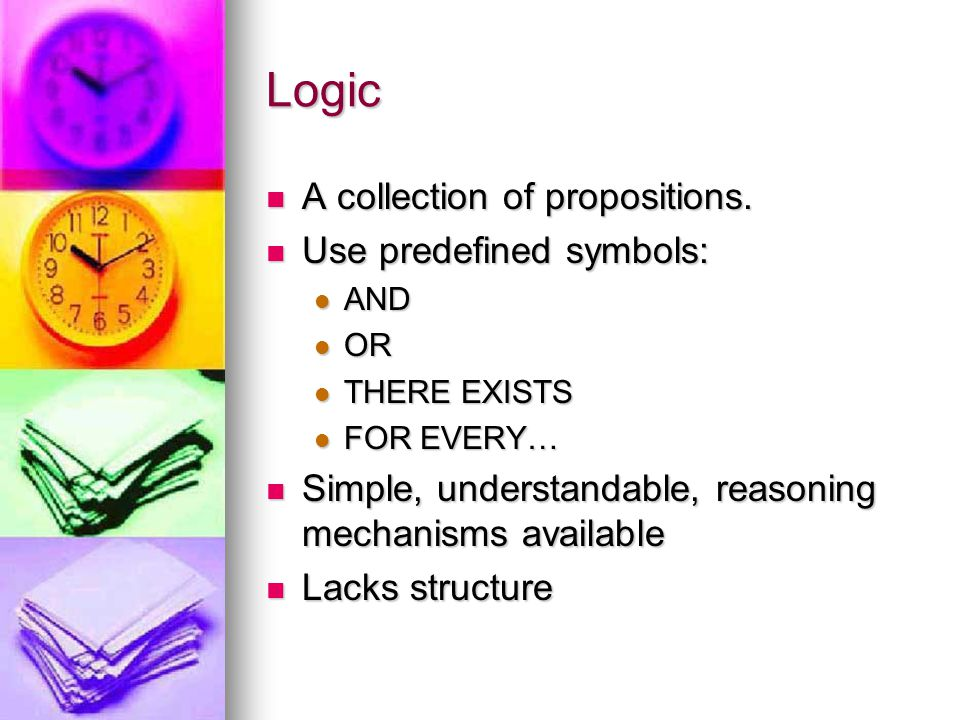 Logic A collection of propositions. A collection of propositions. Use predefined symbols: Use predefined symbols: AND AND OR OR THERE EXISTS THERE EXI