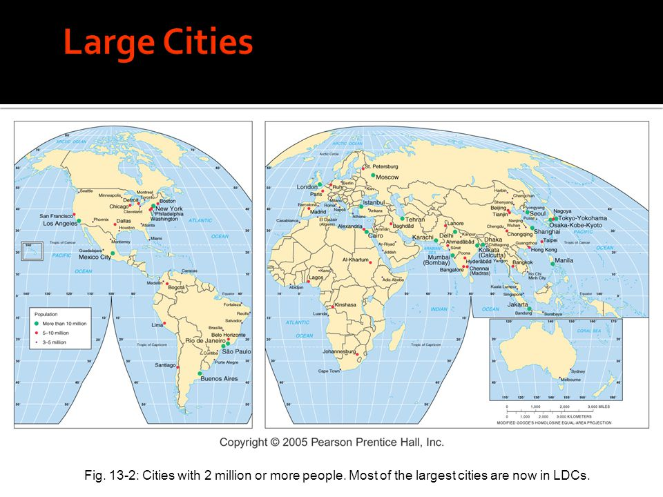 Fig. 13-2: Cities with 2 million or more people. Most of the largest cities are now in LDCs.