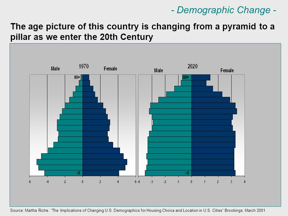 The age picture of this country is changing from a pyramid to a pillar as we enter the 20th Century Source: Martha Riche.