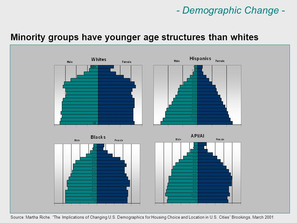 "Minority groups have younger age structures than whites Source: Martha Riche. ""The Implications of Changing U.S. Demographics for Housing Choice and L"