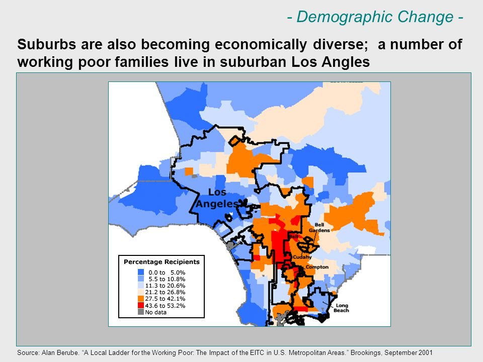 Suburbs are also becoming economically diverse; a number of working poor families live in suburban Los Angles Source: Alan Berube.
