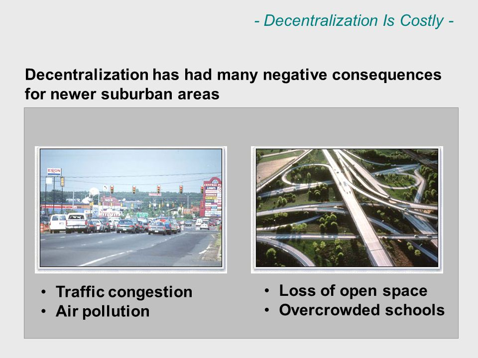 Traffic congestion Air pollution Loss of open space Overcrowded schools Decentralization has had many negative consequences for newer suburban areas - Decentralization Is Costly -