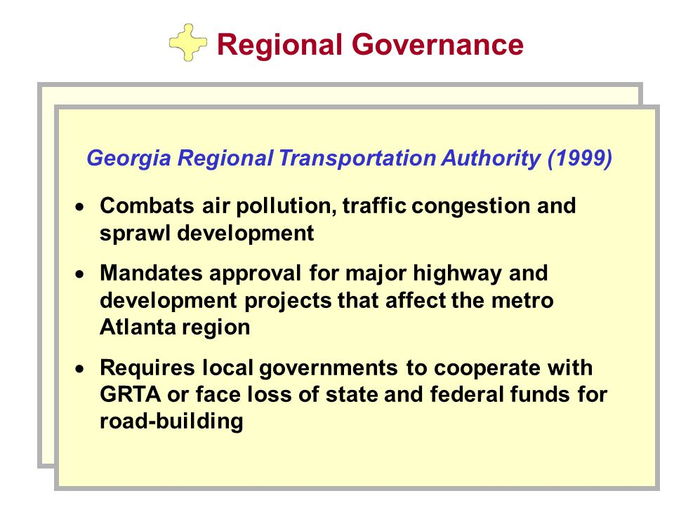 Regional Governance  Combats air pollution, traffic congestion and sprawl development  Mandates approval for major highway and development projects