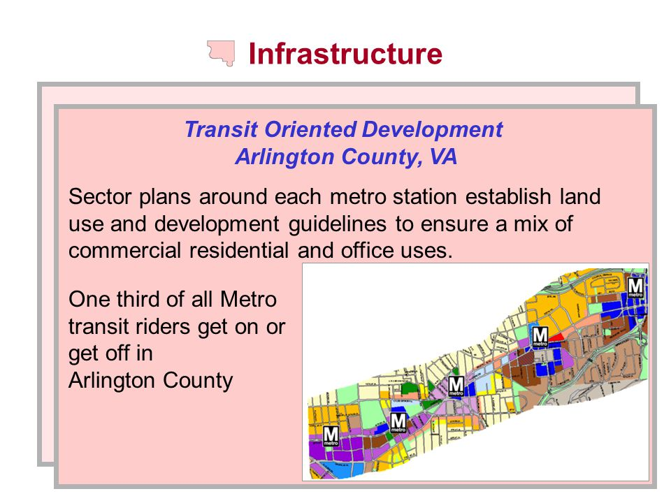 Infrastructure Transit Oriented Development Arlington County, VA Sector plans around each metro station establish land use and development guidelines to ensure a mix of commercial residential and office uses.