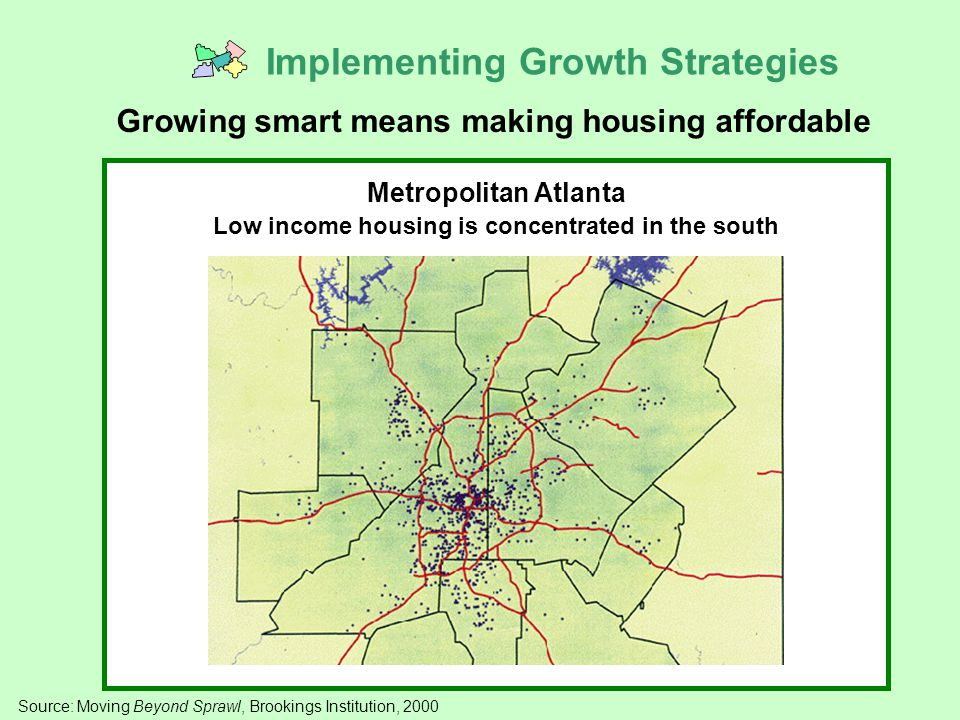 Metropolitan Atlanta Low income housing is concentrated in the south Source: Moving Beyond Sprawl, Brookings Institution, 2000 Implementing Growth Strategies Growing smart means making housing affordable