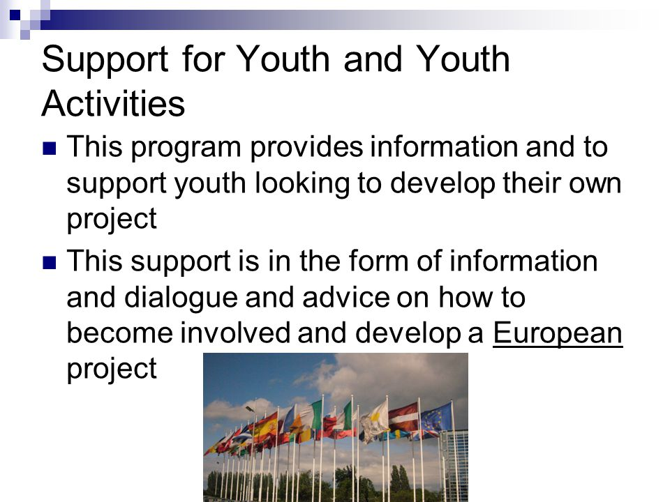 Support for Youth and Youth Activities This program provides information and to support youth looking to develop their own project This support is in the form of information and dialogue and advice on how to become involved and develop a European project