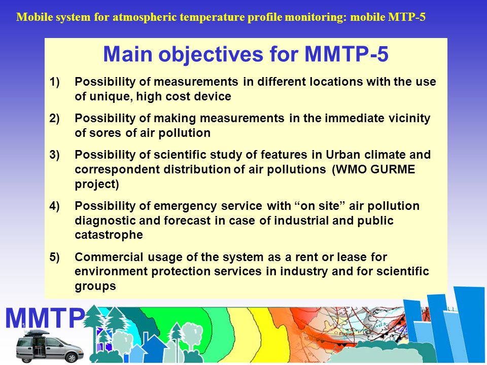 Main objectives for MMTP-5 1)Possibility of measurements in different locations with the use of unique, high cost device 2)Possibility of making measurements in the immediate vicinity of sores of air pollution 3)Possibility of scientific study of features in Urban climate and correspondent distribution of air pollutions (WMO GURME project) 4)Possibility of emergency service with on site air pollution diagnostic and forecast in case of industrial and public catastrophe 5)Commercial usage of the system as a rent or lease for environment protection services in industry and for scientific groups MMTP Mobile system for atmospheric temperature profile monitoring: mobile MTP-5