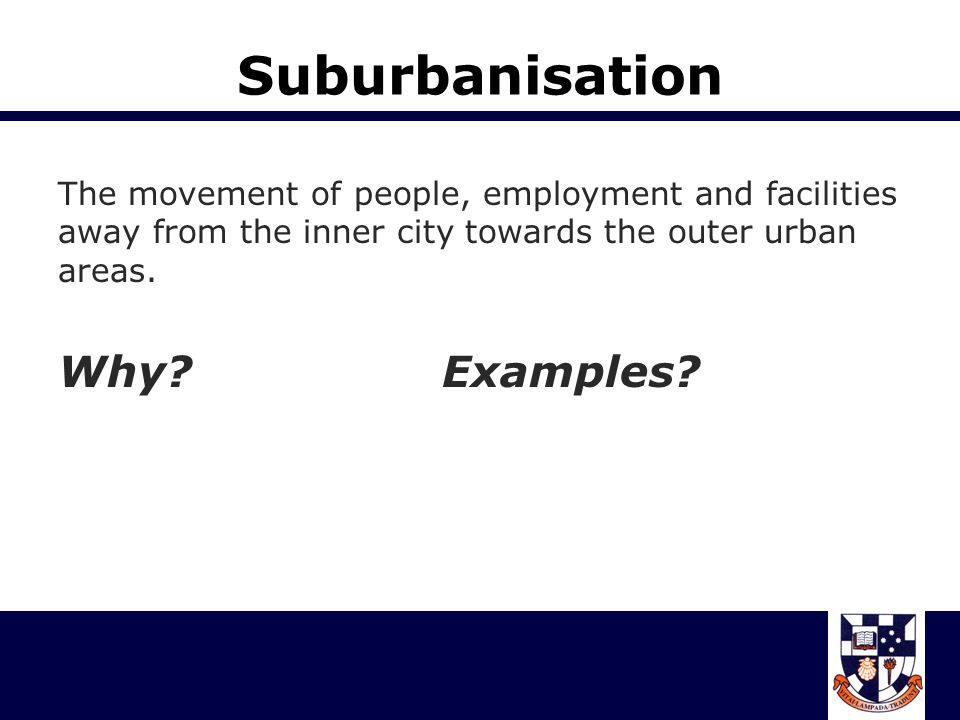 Exurbanisation A process whereby people, usually affluent, move from the city to rural areas but continue to maintain an urban way of life, either through long- distance commuting or technology.