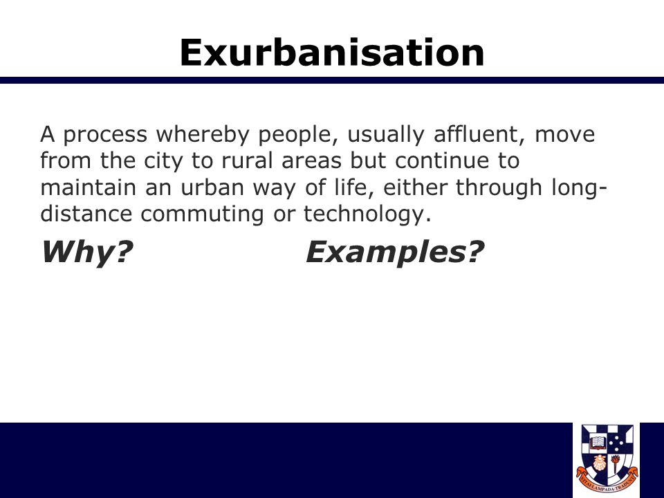 Counterurbanisation A marked decline in the total population or the growth rate of the population of large metropolitan areas and the subsequent growth of smaller urban centres at their expense.