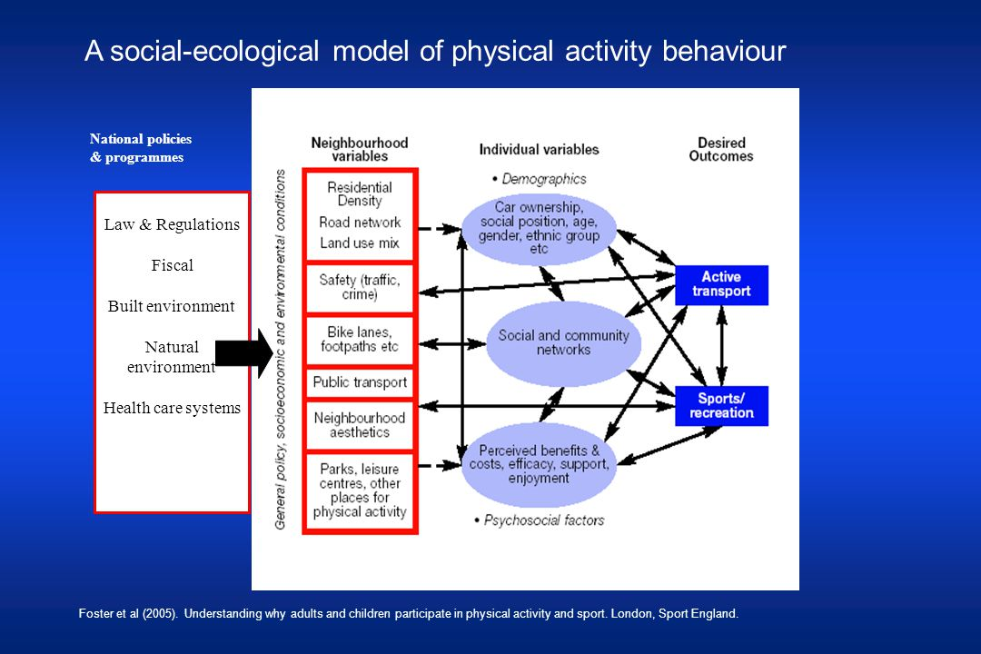 A social-ecological model of physical activity behaviour Foster et al (2005).