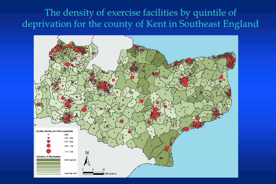 The density of exercise facilities by quintile of deprivation for the county of Kent in Southeast England