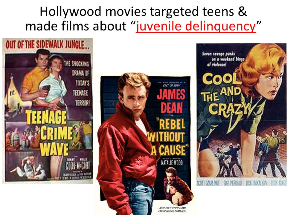 """Hollywood movies targeted teens & made films about """"juvenile delinquency""""juvenile delinquency"""