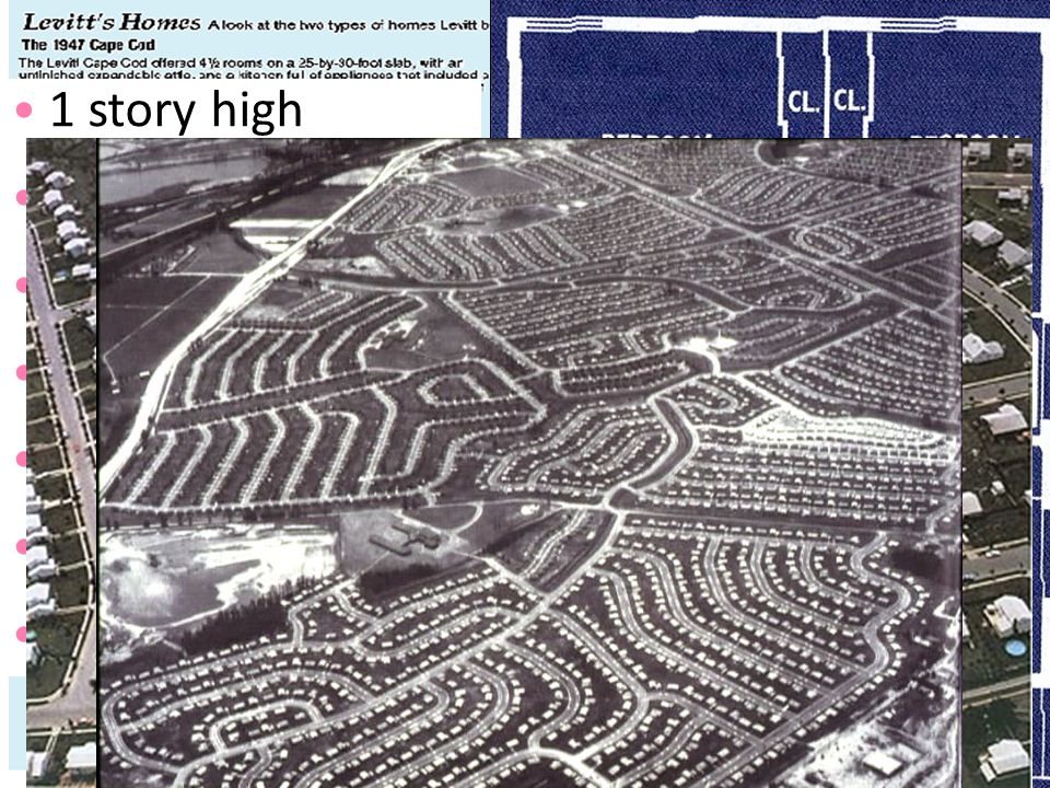 The desire for homes in the suburbs led to massive communities like Levittown in NY 1 story high 12'x19' living room 2 bedrooms tiled bathroom garage