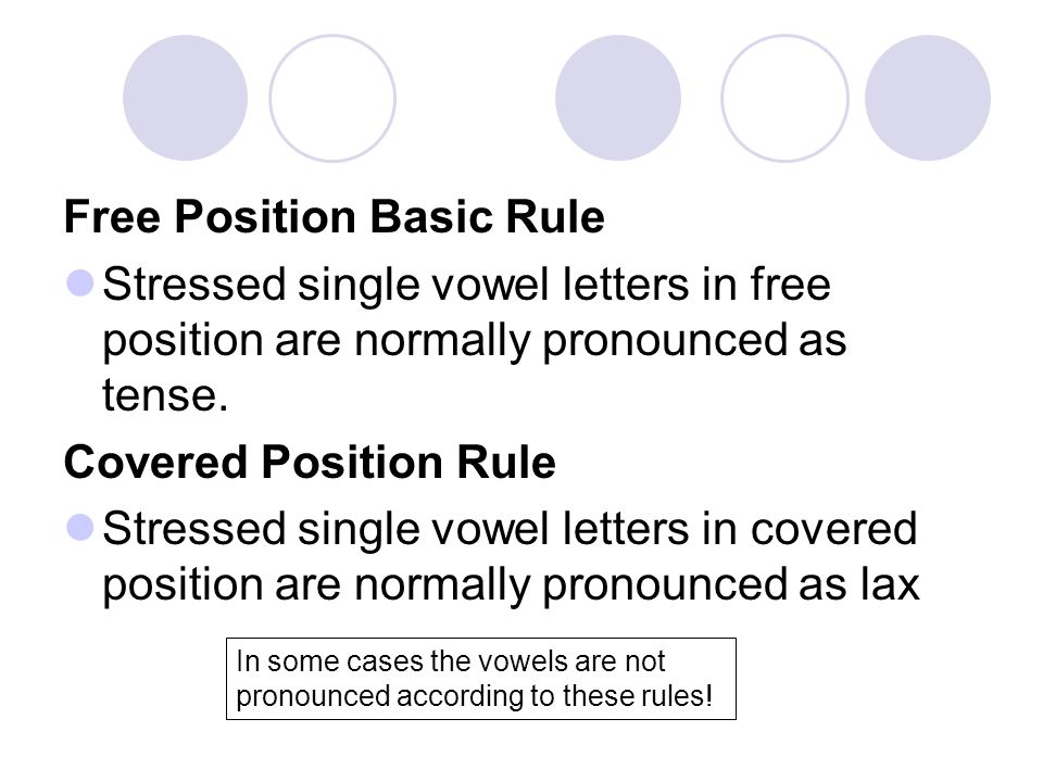 Free Position Basic Rule Stressed single vowel letters in free position are normally pronounced as tense.