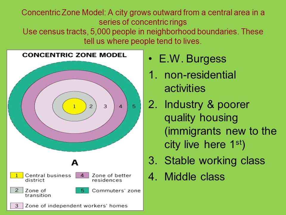 Concentric Zone Model: A city grows outward from a central area in a series of concentric rings Use census tracts, 5,000 people in neighborhood boundaries.