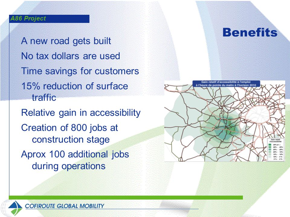 A86 Project Benefits A new road gets built No tax dollars are used Time savings for customers 15% reduction of surface traffic Relative gain in accessibility Creation of 800 jobs at construction stage Aprox 100 additional jobs during operations