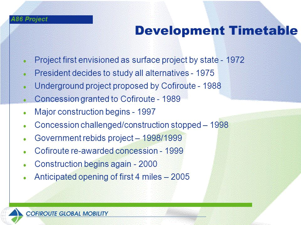 A86 Project Development Timetable l Project first envisioned as surface project by state - 1972 l President decides to study all alternatives - 1975 l Underground project proposed by Cofiroute - 1988 l Concession granted to Cofiroute - 1989 l Major construction begins - 1997 l Concession challenged/construction stopped – 1998 l Government rebids project – 1998/1999 l Cofiroute re-awarded concession - 1999 l Construction begins again - 2000 l Anticipated opening of first 4 miles – 2005