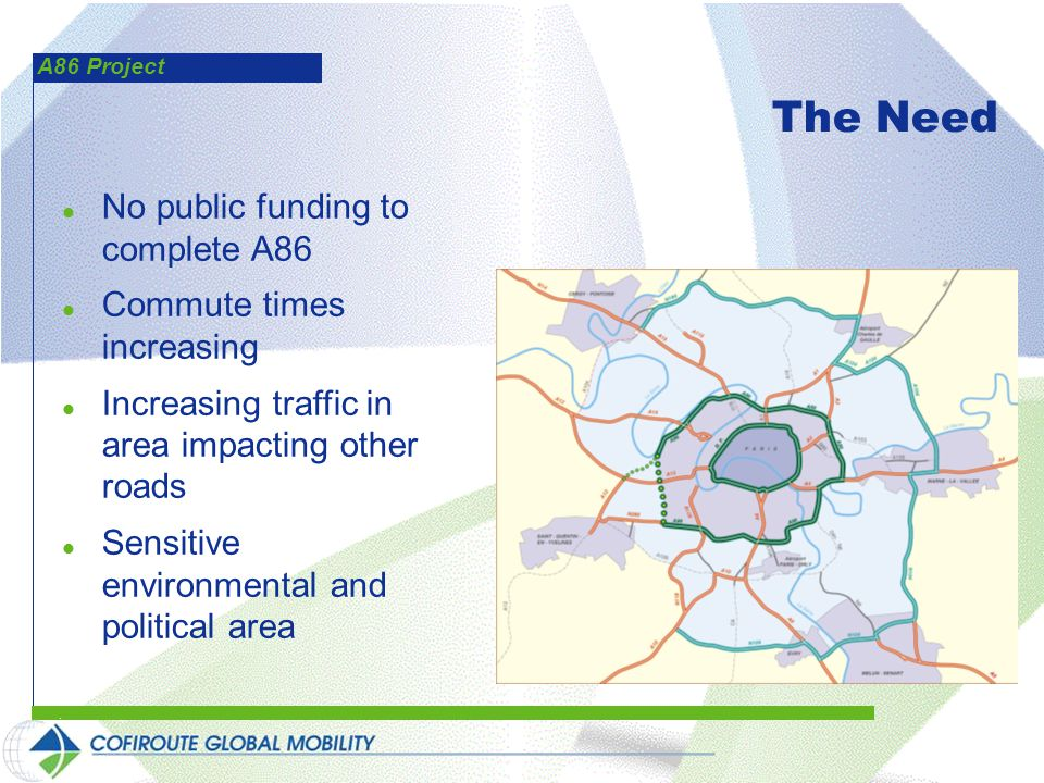 A86 Project The Need l No public funding to complete A86 l Commute times increasing l Increasing traffic in area impacting other roads l Sensitive environmental and political area