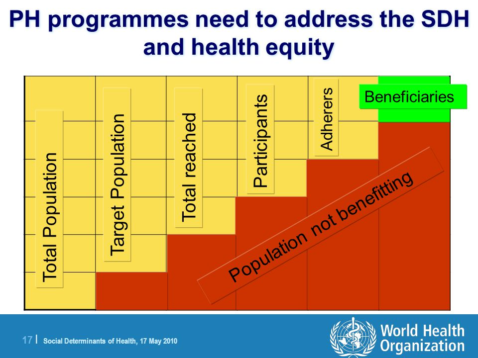 17 | Social Determinants of Health, 17 May 2010 PH programmes need to address the SDH and health equity Total Population Target Population Total reached Participants Adherers Beneficiaries Population not benefitting